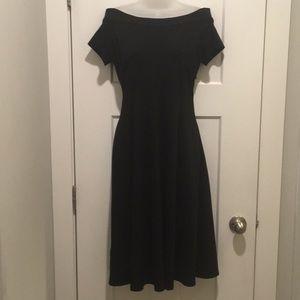 Off The Shoulder Ponte Flare Black Dress, size-2